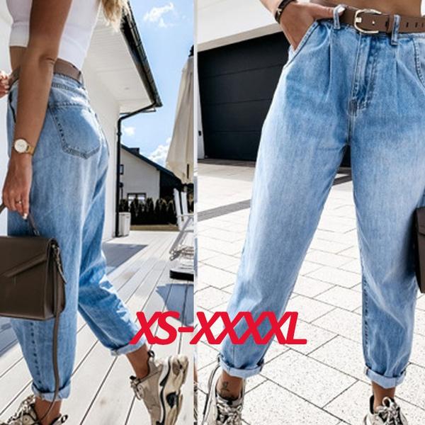 fashion women, Plus Size, high waist, women long pants