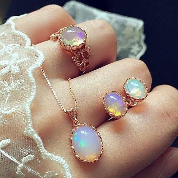 Jewelry, gold, Earring, opals