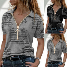Fashion, letter print, Women Blouse, short sleeves