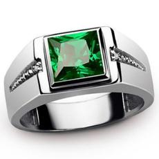 Sterling, White Gold, DIAMOND, emeraldring