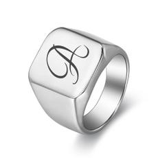 Steel, initialring, Stainless Steel, letterring