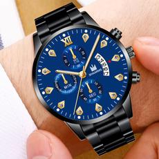 Steel, quartz, business watch, Clock