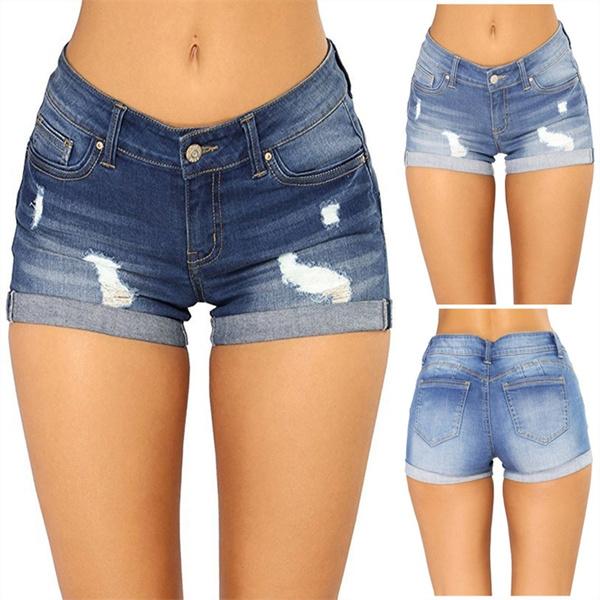 denim shorts women, Summer, Plus Size, Elastic