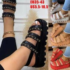 schoenen, Plus Size, wiggen, Chain