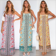Sleeveless dress, bohemiansuspenderdres, long dress, Dress