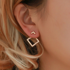Fashion, Triangles, Silver Earrings, gold