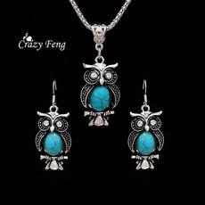 Owl, Turquoise, Jewelry, Drop Earring