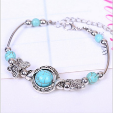 Charm Bracelet, butterfly, Turquoise, Fashion