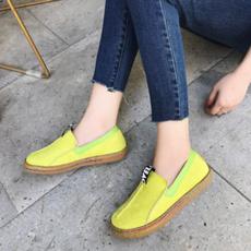 Flats, loafersslipon, lazyshoe, round toe