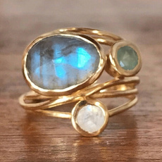 Blues, moonstonering, Jewelry, gold