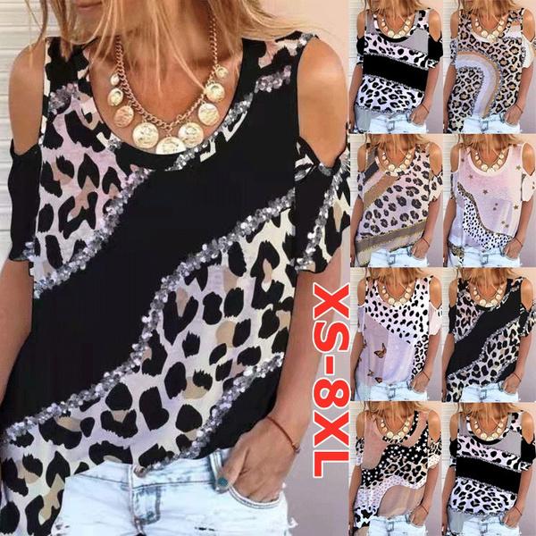 Summer, womens top, Plus size top, Leopard