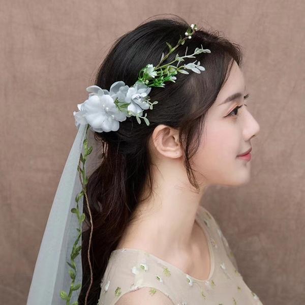 bridalveilwreath, Flowers, holidayheadwear, tulle