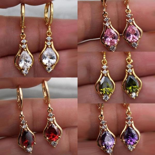 Women, gold plated earrings, wedding earrings, engagementearring