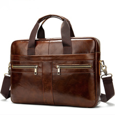 Natural, Briefcase, leather, Laptop