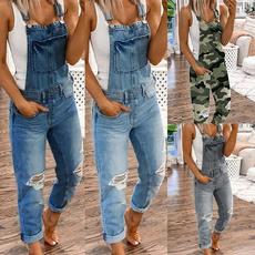 Plus Size, Cotton, denim overalls women, Denim