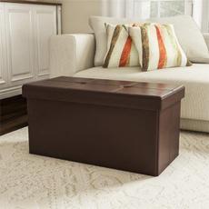 Box, footstool, leather, Stool