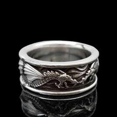 Sterling, dragonring, metalring, gold