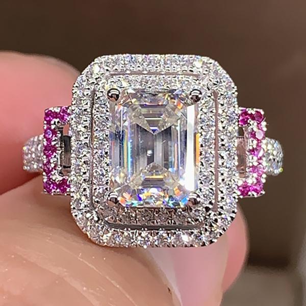White Gold, DIAMOND, jewelry fashion, 925 silver rings