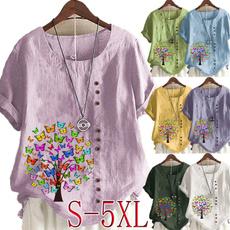 butterfly, Plus Size, Women Blouse, short sleeves
