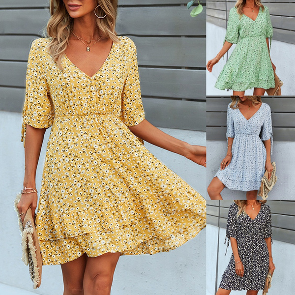 Women's Fashion, Summer, short sleeve dress, Sleeve
