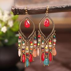 tasselsearring, Colorful, Rhinestone, womenpartyjewelry