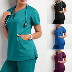 sleeve v-neck, workinguniform, Shorts, withpocket