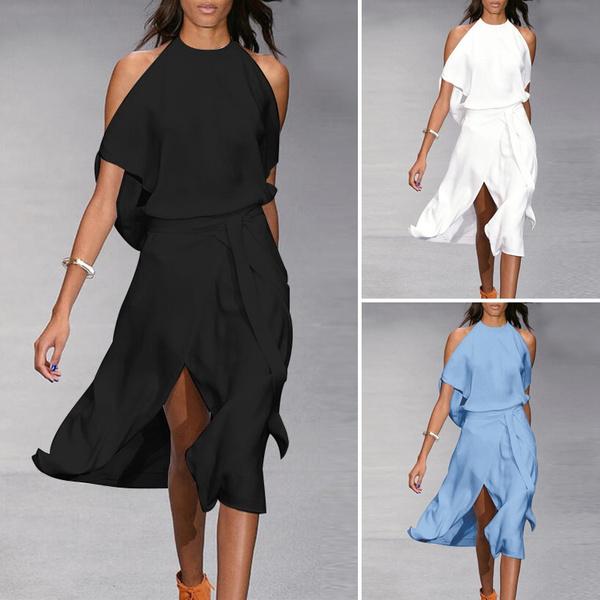 Summer, vestidoscasuale, Plus Size, irregulardres