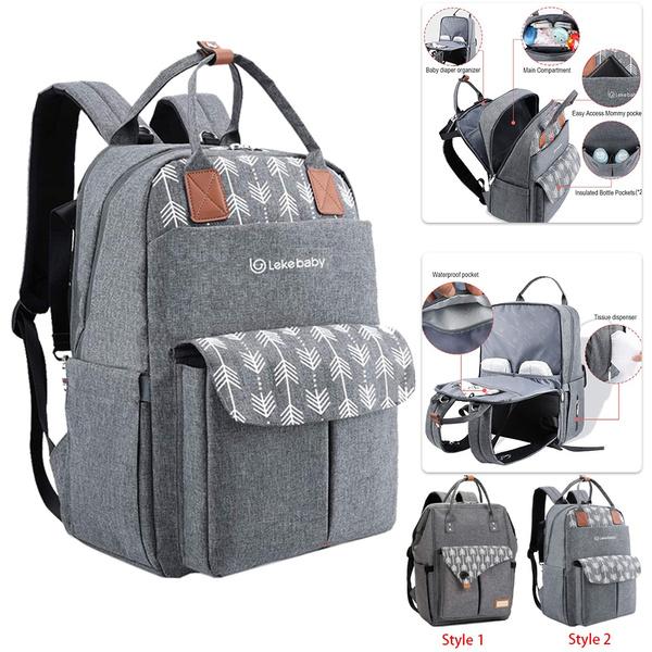 Gray, highcapacity, Bags, diaperbagbackpack