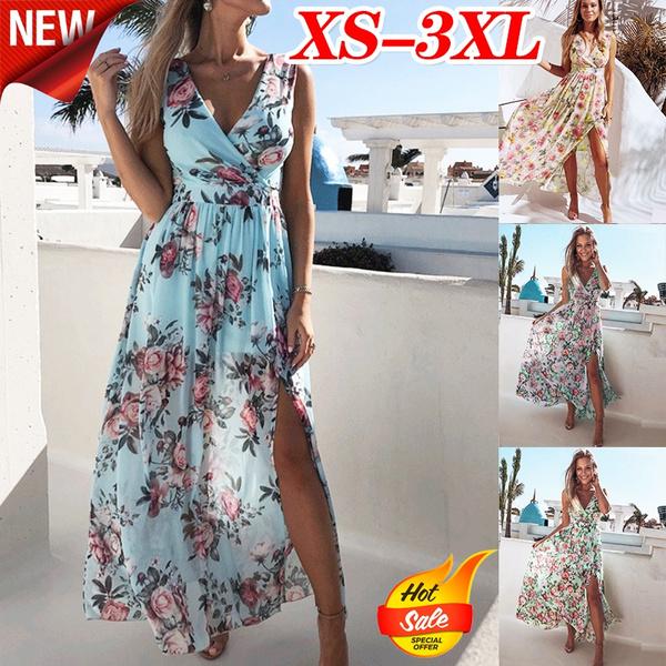 Deep V-Neck, Summer, vestidosdresse, Dress