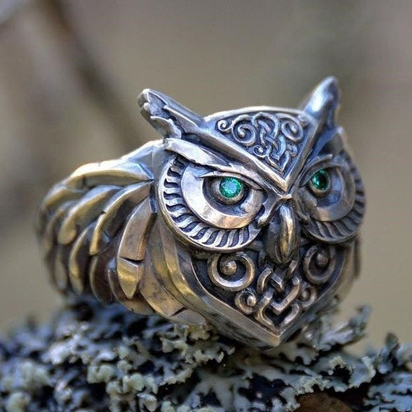 Sterling, Owl, Celtic, wedding ring