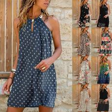 Mini, Necks, Halter, Swing dress