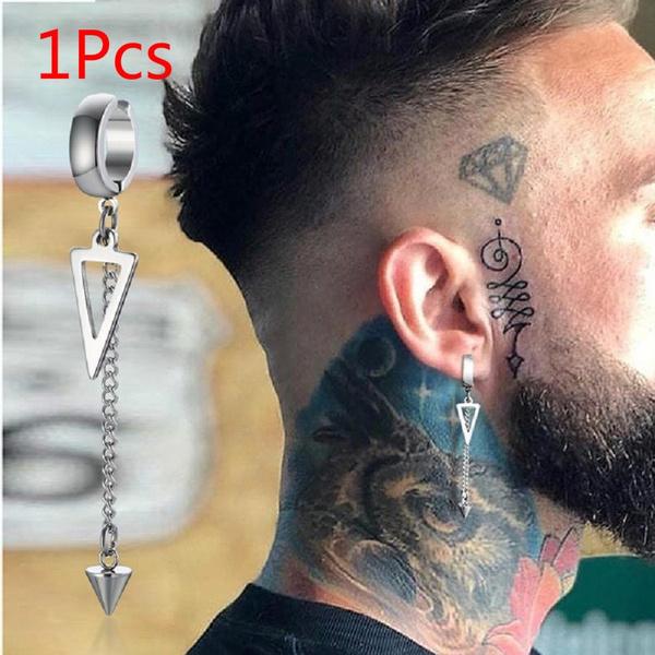 Steel, earpendant, Men, Triangles