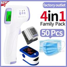 Family, foreheadtemperaturegun, disposablefacemask, medicaltoolssupplie