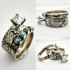 Antique, Sterling, Turquoise, DIAMOND