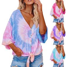 blouse, sleeve v-neck, Bat, Fashion