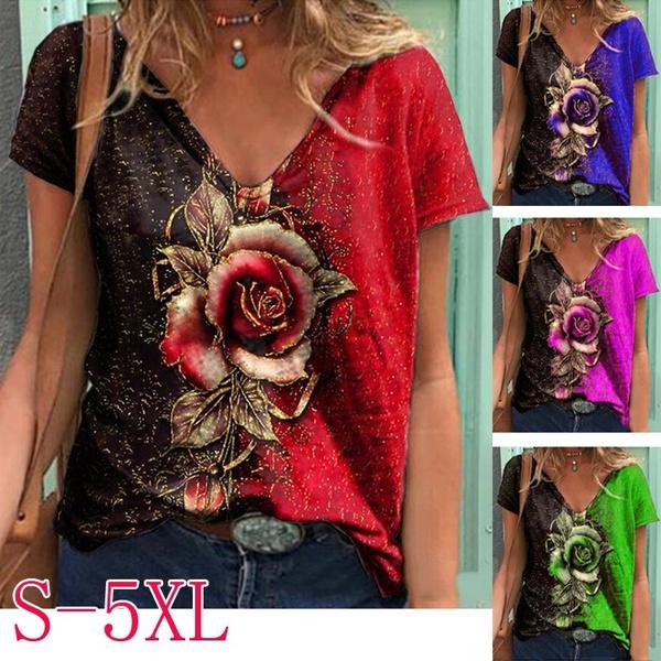 blouse, Summer, Plants, Graphic
