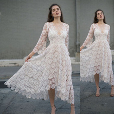 gowns, Lace, white dresses, Long Sleeve