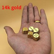 Brass, metaldice, cube, polished