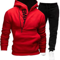 hooded sweater, letterprinting, pants, zippered