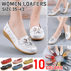 Wedge Sandals, Flats & Oxfords, leather shoes, roundhead