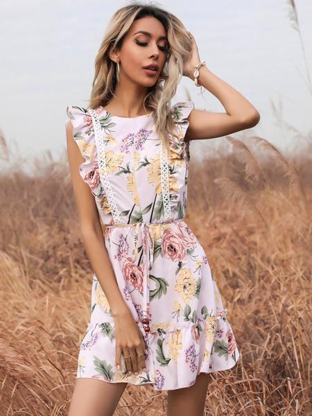 Floral, Dress, ruffle, Women's Fashion
