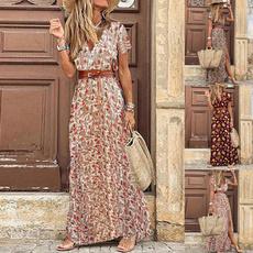 slim dress, Print Dresses, Summer, long dress