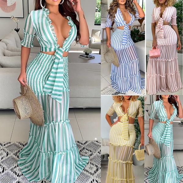 Summer, long skirt, Striped, Dress