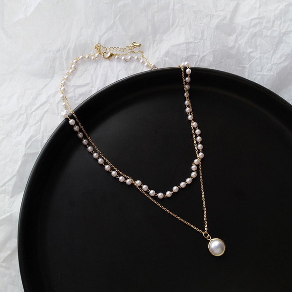 multilayerchainnecklace, pearlnecklaceandearringset, Jewelry, Gifts