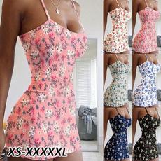 Summer, floralprinteddres, Mini, sleevelessloosedres