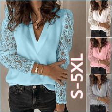 Deep V-Neck, blouse, summe, Fashion