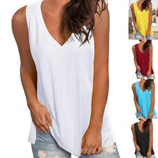 Women Vest, vneckvest, Sexy Top, solidcolortshirt