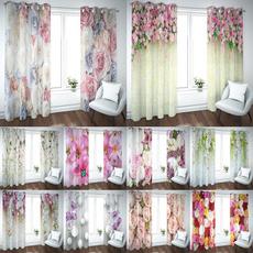 3dcurtain, Flowers, cortinasdequarto, blackoutcurtain