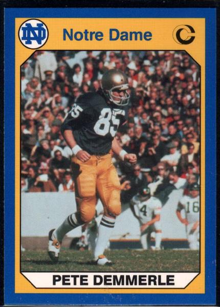 1990footballcard, collegiatecollection, petedemmerle, notredamefightingirish