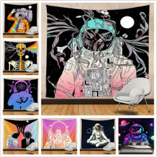 Polyester, skull, astronauttapestry, wallhangingtapestry